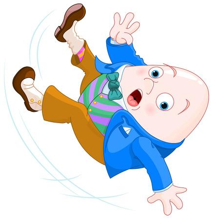 Humpty Dumpty beneden valt Stock Illustratie