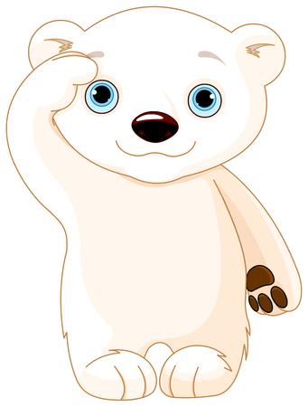 saluting: Illustration of polar bear saluting