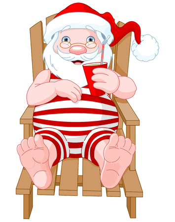 daybed: Cartoon Santa Claus relaxing on the beach