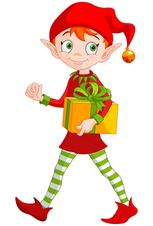 funny pictures: Illustration of cute Christmas elf holds gift Illustration