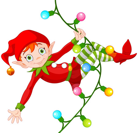 Illustration of cute Christmas elf swinging on a garland Stock Illustratie