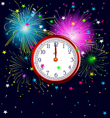 watch new year: Illustration of New Year background with clockwork