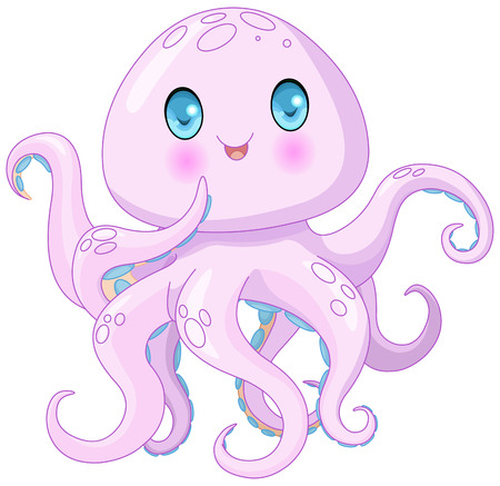 sucker fish: Illustration of very cute octopus