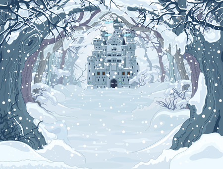 castle tower: Magic Fairy Tale Winter Princess Castle