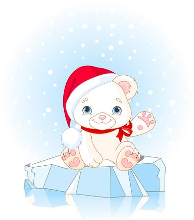 Christmas Polar Bear sits on ice floe and waiving hello