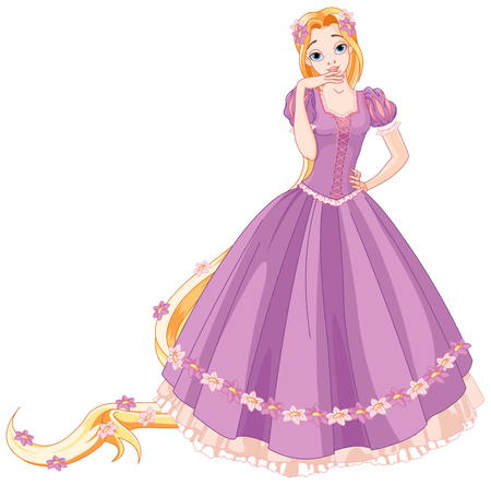 Illustration of beautiful girl dressed up like Rapunzel 向量圖像
