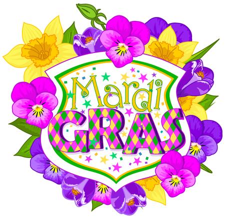 blazon: Illustration of Mardi Gras blazon on flower background
