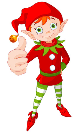 Illustration of cute Christmas elf doing a thumb up and smiling 向量圖像
