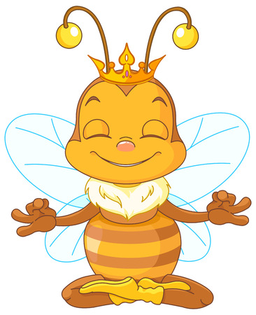 meditates: Cute Queen Bee sitting in the lotus position and meditates Illustration