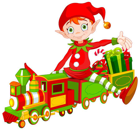 おもちゃの列車に座っているかわいいクリスマス エルフのイラスト