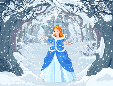 fairy cartoon: Illustration of princess with bird close to Magic Winter Castle