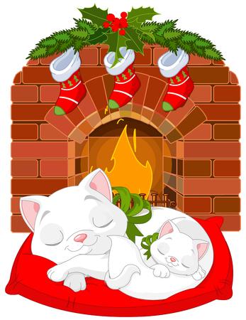mantelpiece: Cute little kittens sleeping near Fireplace