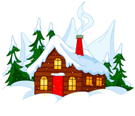 Illustration of Little house stands on snow hills.