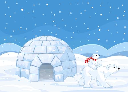 osos navideños: Oso polar mamá y el bebé que monta en su espalda Vectores