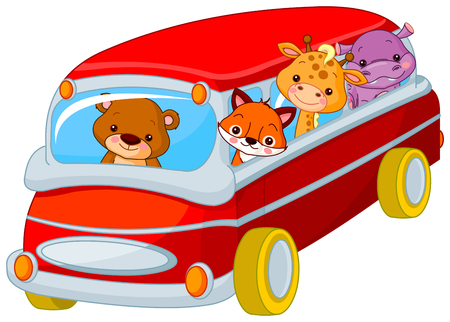 red bus: Illustration of cute toy bus full of animals