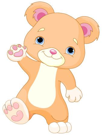 Illustration of cute Teddy Bear walks
