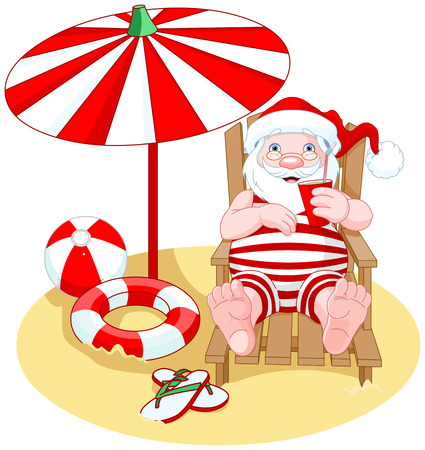 repose: Cartoon Santa Claus relaxes on the beach