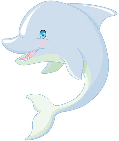 Illustration of cute swimming Dolphin
