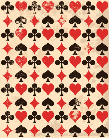 playing card symbols: Retro-background with playing card symbols