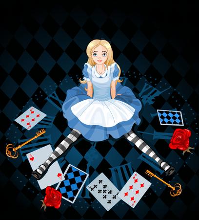 Mylić Alice po jej urosły na abstrakcyjnym tle
