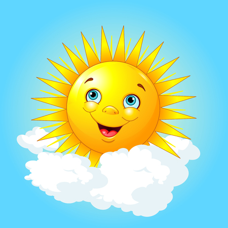 smiling sun: Illustration of smiling sun on the cloud