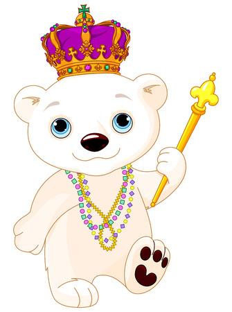Illustration of polar bear wearing Mardi Gras costume Illustration