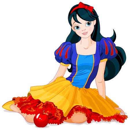白雪姫の衣装を着てきれいな女の子