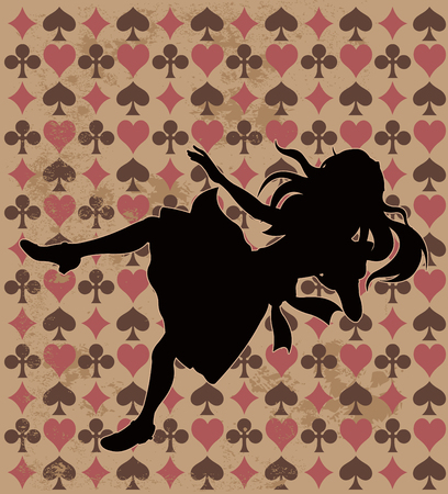 falling: Alice silhouette on wonderland play card background