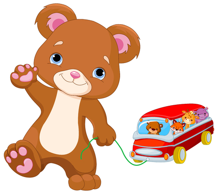 baby playing toy: Cute Teddy Bear plays toy bus Illustration