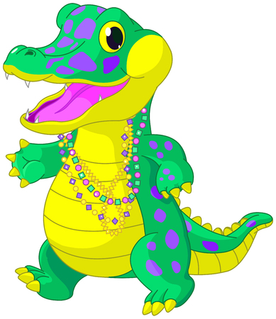Illustration of very Mardi Gras alligator