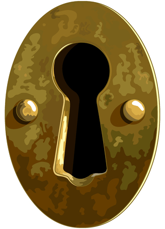 Illustration of antique bronze keyhole