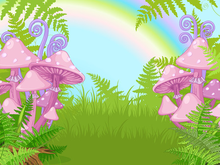 Fantasy landscape with mushrooms, fern, rainbow Illustration
