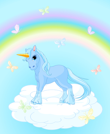 Illustration of standing unicorn on magic background Ilustração
