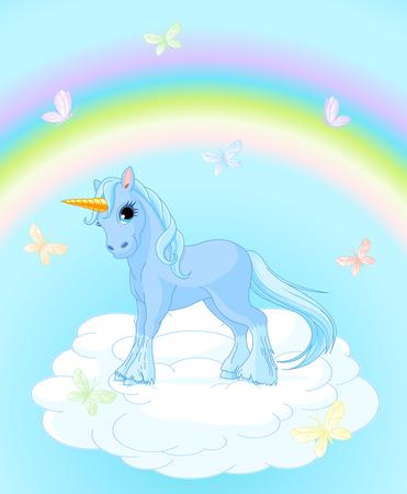 Illustration of standing unicorn on magic background Vettoriali