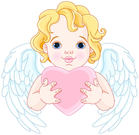 royalty free illustrations: Illustration of cute angel holds heart