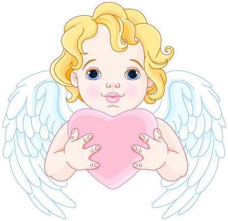 Ilustración de Ángel lindo sostiene corazón Ilustración de vector