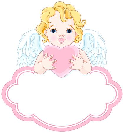 Illustratie van schattige engel houdt hart