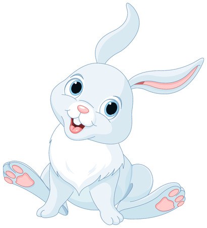 cute cartoons: Illustration of cute white bunny Illustration