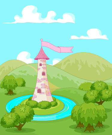 royalty free illustrations: Magic fairytale tower rural landscape
