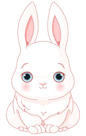 cartoons animals: Illustration of cute white bunny Illustration