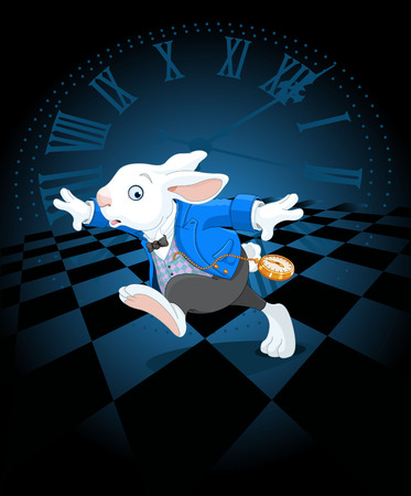 Running White Rabbit with pocket watch Vectores