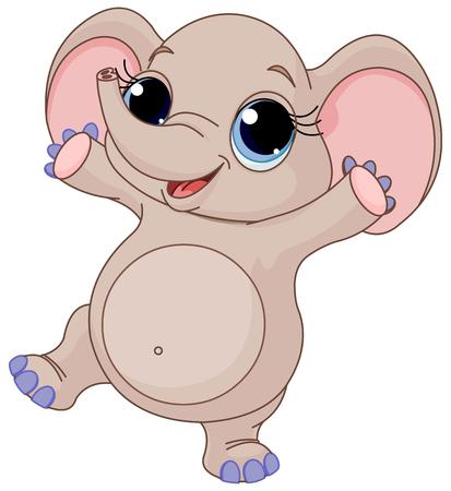 animaux du zoo: Illustration de bébé mignon danse d'éléphant