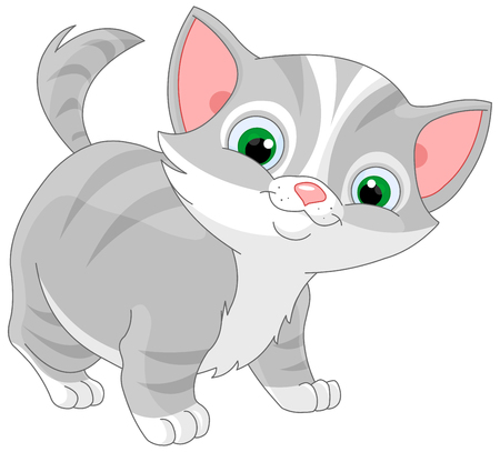 Illustration of striped kitten 矢量图像