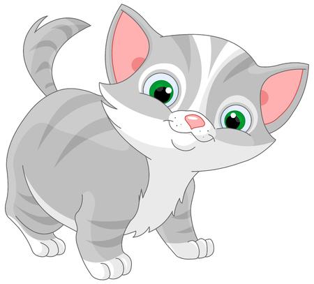 Illustration of striped kitten Vettoriali