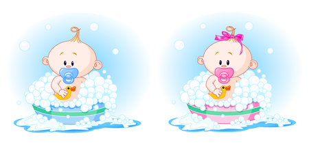 girl: Cute Babies (boy and girl) taking a bath