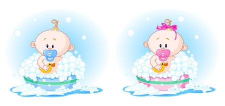 Los bebés lindos (chico y chica) que toma un baño Ilustración de vector