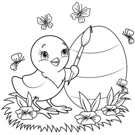 color page: Color page of an Easter Chicken is painting an egg