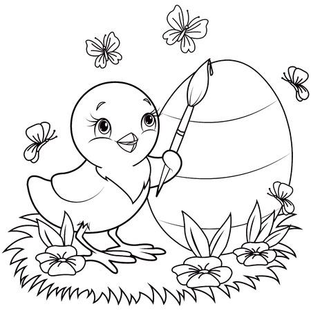 La página de color de un pollo de Pascua está pintando un huevo