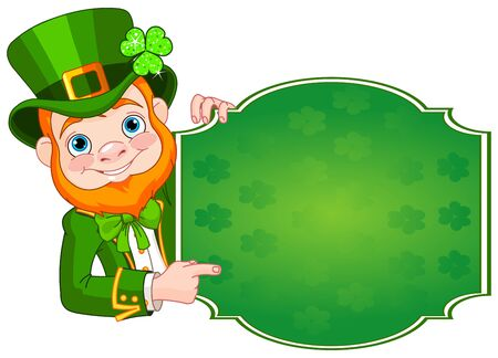 royalty free illustrations: Illustration of St. Patricks Day Leprechaun holds sign