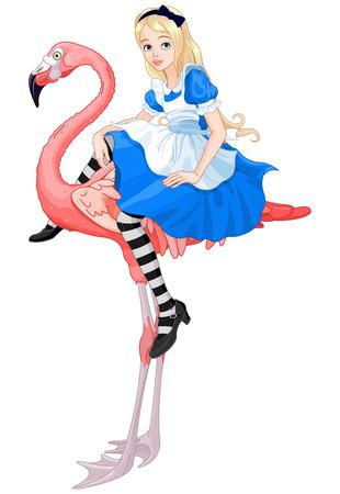 귀여운 앨리스의 그림 플라밍고에 앉아있다